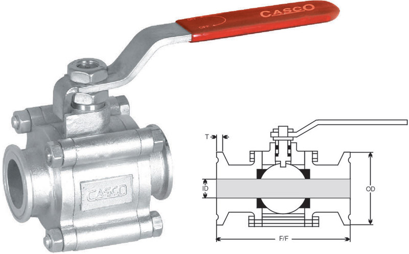 CASCO INTERNATIONAL - 3pc Design Triclover End Ball Valve